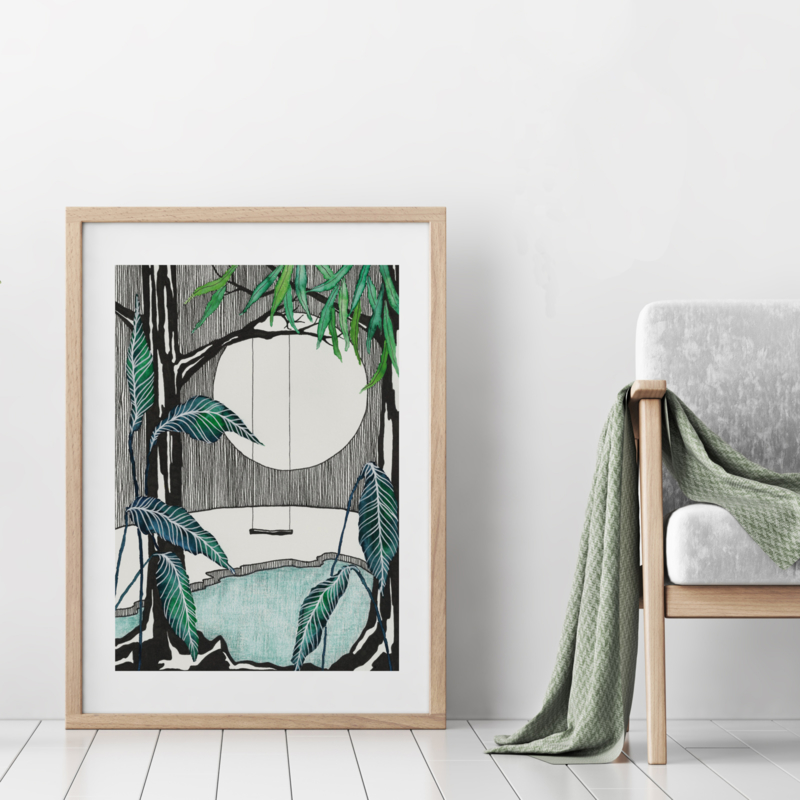 A3 Art Print | Moonlight Swing