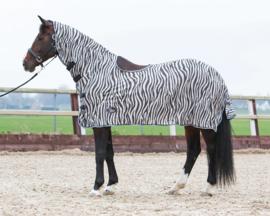 Harry's Horse Vliegendeken mesh, hals en zadeluitsparing, zebra gray