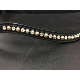 HB Showtime Frontriem white-brass-pearls, mt. Cob