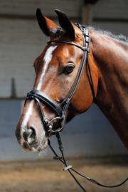 Harry's Horse Hoofdstel Luxe, rondgenaaid, Zwart & Bruin