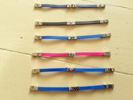 Kinder armband rubber donkerblauw met twee schuifjes 611-9