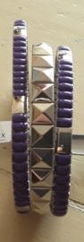 Flexibele armband met paarse steentjes - maat S