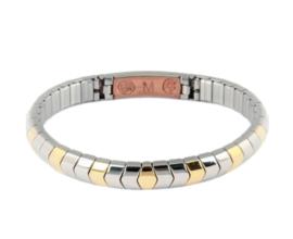 Flexibele armband zilver/goud 440-2 M, met koper, visgraatmodel