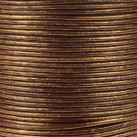 Leren koord, metallic, brons, 2mm, 100 meter