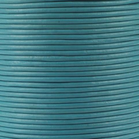 Leren koord, licht turquoise blauw, 2mm, 100 meter