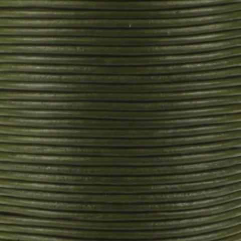 Leren koord, olijf groen, 2mm, 100 meter