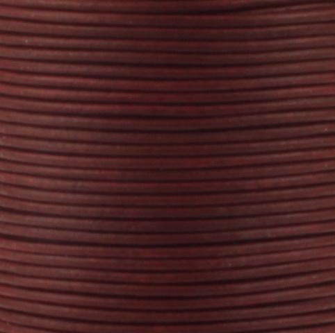 Leren koord, vintage, donker rood, 2mm, 100 meter