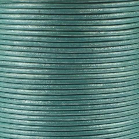 Leren koord, metallic, mint turquoise, 2mm, 100 meter