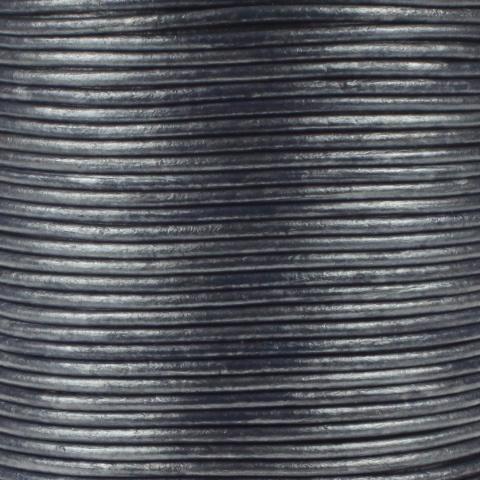 Leren koord, metallic, staalblauw, 2mm, 100 meter