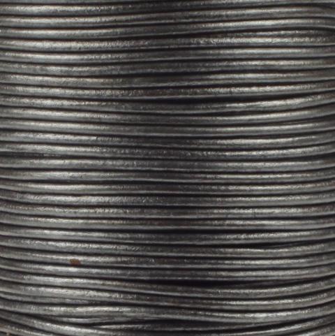 Leren koord, metallic, grijs, 2mm, 100 meter