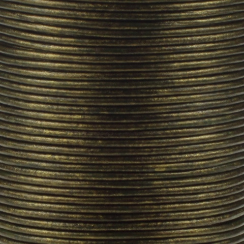 Leren koord, metallic, donkergroen, 2mm, 100 meter