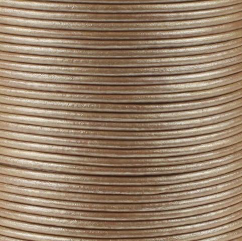 Leren koord, metallic, zandkleurig, 2mm, 100 meter