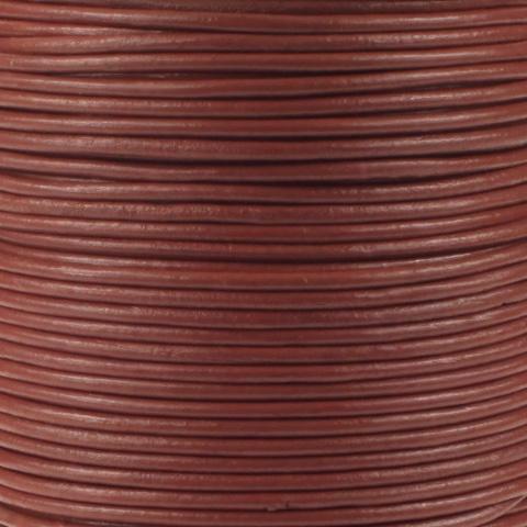 Leren koord, parelmoer licht rood, 2mm, 100 meter