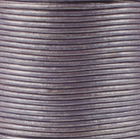 Leren koord, metallic, parelmoer lichtviolet, 2mm, 100 meter