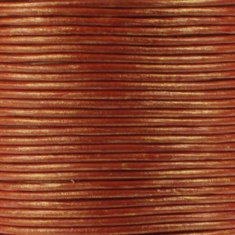 Leren koord, metallic, roodoranje, 2mm, 100 meter