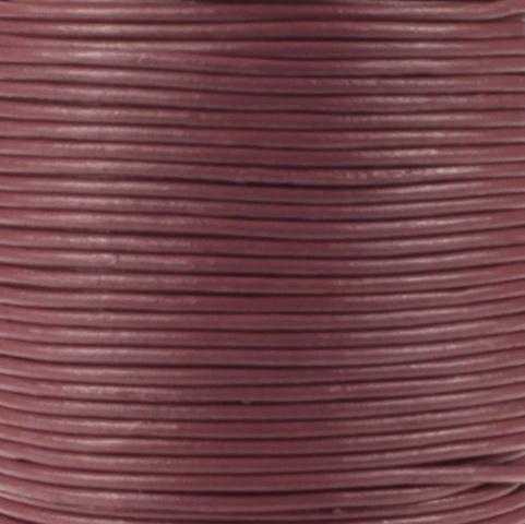 Leren koord, oud roze, 2mm, 100 meter