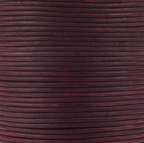 Leren koord, vintage, diep roze, 2mm, 100 meter