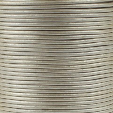 Leren koord, metallic, staal grijs, 2mm, 100 meter