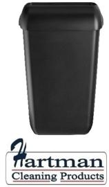 441452 - Afvalbak kunststof mat zwart 23 liter Quartz-Line