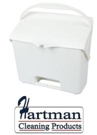 410101104 -1- FBK Hotelstofblik met handgreep hoogwaardige kleurcode hygiënische polypropyleen wit 80205