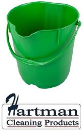 300106102-5 - FBK Emmer hoogwaardige kleurcode HACCP hygiënische polypropyleen 9 liter groen 80102