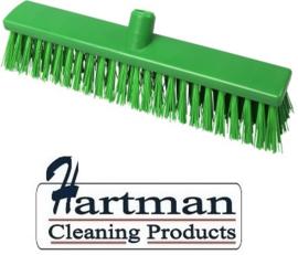 22210130-5 - Hoogwaardige FBK kleurcode HACCP Polyester hygiënische kunststof extra harde bezem 400 x 60 mm groen 25187