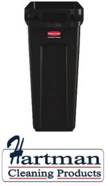 CP653 -Rubbermaid Slim Jim afvalbak met ventilatiekanalen zwart 87L