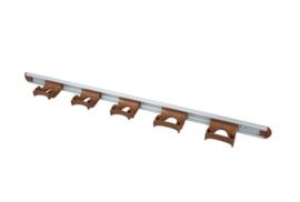722102106-12 - FBK HCS Wand railophangsysteem kleurcode HACCP aluminium 900 mm 5 x klem bruin 15157