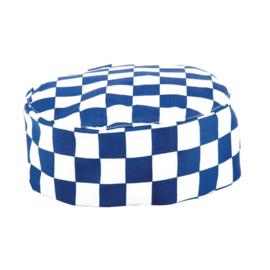 A164 - Whites skull cap blauw-wit geblokt