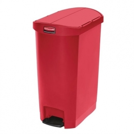 GL029 - Rubbermaid Slim Jim End Step pedaalemmer 50ltr rood