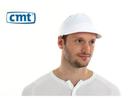 L050 - CMT pet met klep, poly-cotton, wit, L, polyester kroon