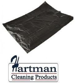 456122 - Zwarte HDPE afvalzakken van 50x55 cm, en T15 dik. Verpakking: 20 rollen a 50 zakken
