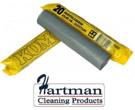 P9150230 - LDPE afvalzakken 60 x 80 cm grijs, KOMO kwaliteit, 20 rollen á 20 zakken per doos, 60 liter