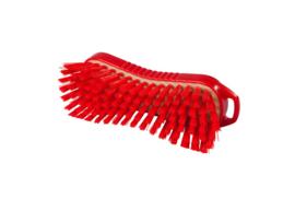 129151013-3 - Polyester handborstel vezels in hars gegoten kleurcode HACCP 210 mm x 70 mm hard rood 95063