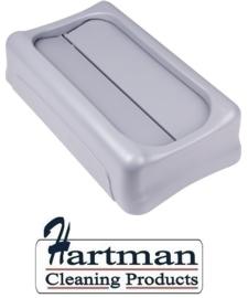 F604 - Rubbermaid Slim Jim kunststof tuimeldeksel kleur grijs. Voor restafval