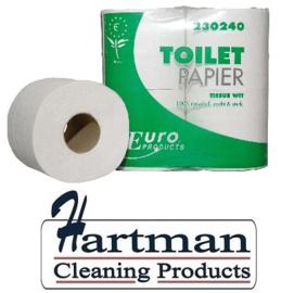 230240 - Europees Ecolabel en FSC gecertificeerd 2-laags tissue wit traditioneel toiletpapier 250 vel - 8 x 8 rol p/pak