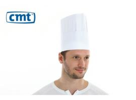 C022 - CMT - Koksmuts Classic, papier, 20 cm wit, met kroon en zweetband