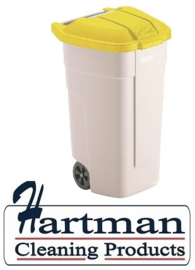 F692 - Rubbermaid rolcontainer met geel deksel 100 Liter