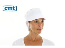 L060 - CMT pet met klep en haaropvang, poly-cotton polyester kroon, wit, large
