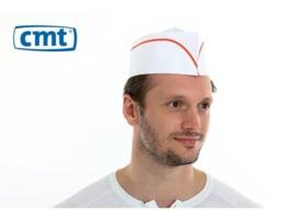 F030 - CMT fourage muts, papier, wit, rode lijn, geperforeerde kroon