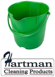 304106101-5 - FBK Emmer hoogwaardige kleurcode HACCP hygiënische polypropyleen 15 liter groen 80101