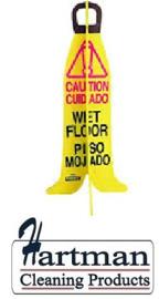"""20191XFRAME - Bananen frame waarschuwingsbord """"Caution wet floor"""""""