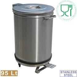 PCRA/105B -  RVS Vuilnisbak, deksel met pedaalbediening - 95 liter