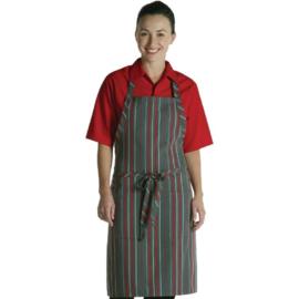 A971 -  Chef Works halterschort rood-grijs gestreept