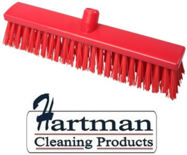 22210130-3 - Hoogwaardige FBK kleurcode HACCP Polyester hygiënische kunststof extra harde bezem 400 x 60 mm rood 25187