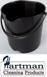 300106102-6 - FBK Emmer hoogwaardige kleurcode HACCP hygiënische polypropyleen 9 liter zwart 80102