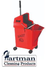 990790 - Mobile mopsysteem met vaste wringer Lieveheersbeestje 9 liter kleurcode rood