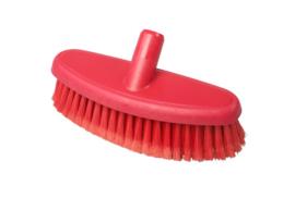 742161005-3 - Hoogwaardige FBK kleurcode HACCP hygiënische kunststof wasborstel waterdoorlatend uit 1 stuk , zacht met gespleten vezels 265 x 90 mm, rood 24104