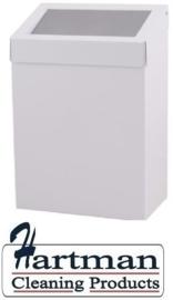 13072 - Afvalbak 20 liter gesloten wit Metaal Wit gepoedercoat Dutch Bins