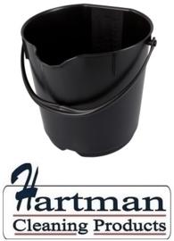 305106101-6 - FBK Emmer hoogwaardige kleurcode HACCP hygiënische polypropyleen 15 liter  zwart 80101